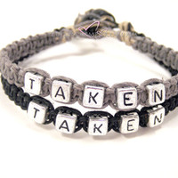 Taken Couples Bracelets, Black and Grey Hemp Bracelets FREE US SHIPPING