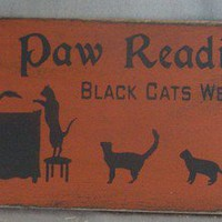 Paw Readings Sign, Halloween, Witches, Balck Cats, Wicca, Wiccan, Occ | icehousecrafts - Folk Art & Primitives on ArtFire