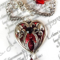 Art Nouveau ruby heart pendant, Victorian heart, handpainted jewellery, romantic pendant, heart cameo, flower jewellery