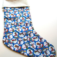 Snowmen, Childs Christmas Stocking, Handmade