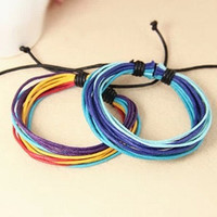 couple bracelet 2 color real leather cotton ropes woven bracelet,Christmas gift, ropes woven bracelet T087