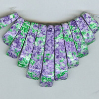 Purple Green Mottled Synthetic Turquoise Mini Cleopatra Collar Fan 11pc Bead Set