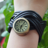 Leather Belt Braided Watch Black