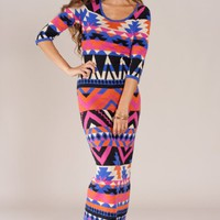 Flying Tomato Women's Aztec Printed Bodycon Sweater Maxi Dress