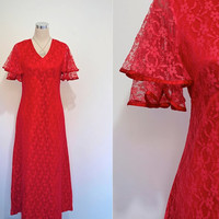 Red Lace Dress / Vintage Party Dress / Satin and Lace Old Style Glamour
