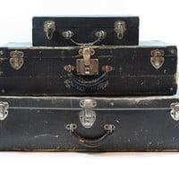 Vintage Suitcase / Stack of Suitcases / Old Suitcase