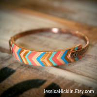 Hammered Copper Bangle with Hand Painted Leather Strip