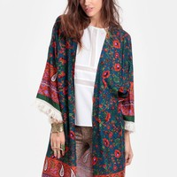 Shanghai Marked Fringed Kimono - New Arrivals - Clothing