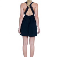 Black Cross Over Lace Straps Dress with Open Back