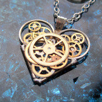 "Mechanical Heart Necklace ""Elevate"" Elegant Industrial Heart Clockwork Necklace Steampunk Love Sculpture by A Mechanical Mind Gear Heart"