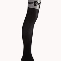 Bold Bow Garter Illusion Tights