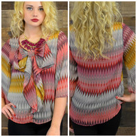 Autumn Haze Chevron Bow Front Top