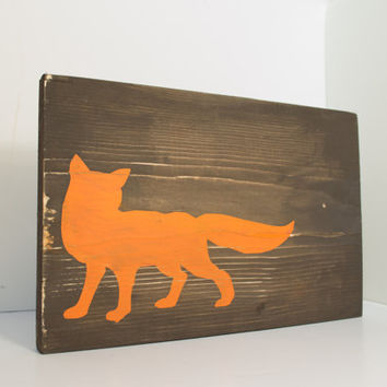Fox Wood Sign Fox Home Decor Rustic From Rustic Baby