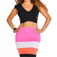 Multi Colored Stripe Pencil Skirt