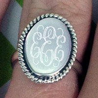 Monogrammed Sterling Silver Ring in Olivia | Custom Preppy Jewelry