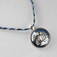 Owl Hemp Necklace: Spooky Pendant, Glass Cabochon, Halloween Jewelry, Midnight Moon