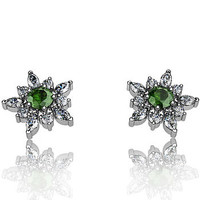Tsavorite Garnet And Diamond Earrings