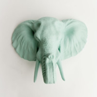 The Sydney | Elephant Head | Faux Taxidermy | Seafoam Resin