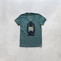 Night Scouting - women t shirt | tshirt women - kerosene lamp on forest green - gift for her | ladies top - camping shirt by Blackbird Tees