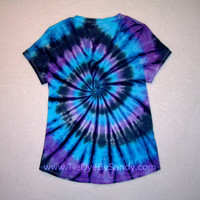 Women's V-neck Tie Dye Shirt- Moon Shadow Spiral