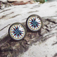 Vintage Compass Stud Earrings Post Earrings Compass Studs Nautical Jewelry FREE SHIPPING Christmas Gifts For Her Gift Ideas