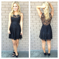 Black Lace Beaded Necklace Babydoll Dress
