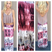 Grey & Wine Tie Dye Roll Down Maxi Skirt