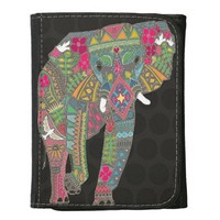 painted elephant graphite dot leather tri-fold wallet