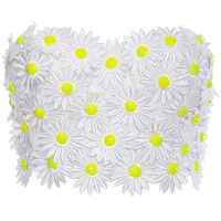 ROMWE | ROMWE Daisy Embellished White Bandeau, The Latest Street Fashion