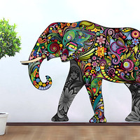 Elephant Decoration Vinyl Wall Art Decal Stickery  Colorful Floral Elephant Wall Sticker decal