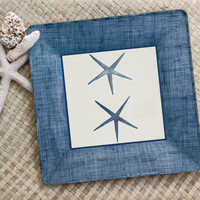 Nautical Decor / Starfish / Sea Shore Decor / Monaco Blue / Seaweed Print / Decoupage Plate / Wall Hanging / Coral Decor