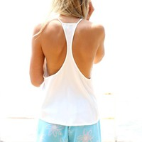 White Lightweight Racerback Tank with Scoop Neckline