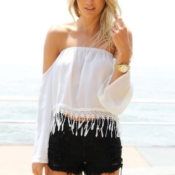 White Off the Shoulder Top with Lace Tassel Hem Detail