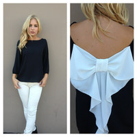 Black & White Bow Back Blouse