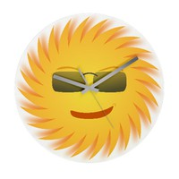 Mr. Sun In Sunglasses Wall Clock