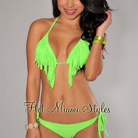 Neon Lime Fringe Cheeky Scrunch Butt Bikini