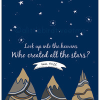 Children's Room Print. Stars Christian Art. Isaiah 40:26. Personalized Print. Christian Nursery.
