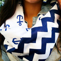 Blue Chevron Anchor infinity scarf- soft jersey knit and 100% cotton