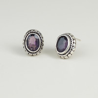 Oval Amethyst and Silver Tribal Stud Earrings