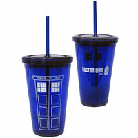 Doctor Who TARDIS Acrylic Cup with Straw - Bif Bang Pow! - Doctor Who - Mugs at Entertainment Earth