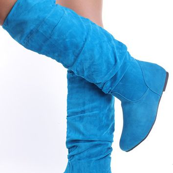 turquoise faux suede flat knee high pull from pink basis