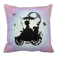 Vintage Magical Carriage Throw Pillow
