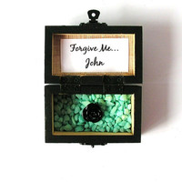 Wood Box, Forgive Me, Custom Gift, Handpainted Trunk, Treasure Chest, Wedding Favor, Personalized