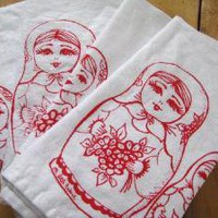 Supermarket - Screen Printed Organic Cotton Nesting Dolls Cloth Napkins from Oh, Little Rabbit
