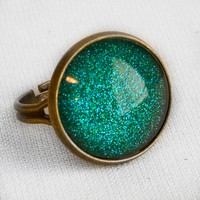Mermaid Tears Ring in Antique Bronze - Turquoise Blue Green Glitter Ring