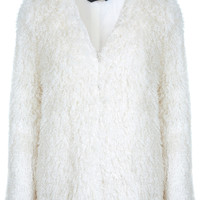 Cream Faux Fur Shaggy Coat