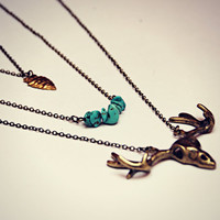 Deer skull layer necklace, set of 3