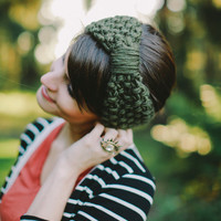 Lichen Green knitted headband knit headband