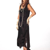 Nataya Dress 175B-1920s Black Crepe Velvet Party Dress