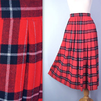 Red Lumberjack Flannel 1980s High Waist Skirt Preppy Pleated - small